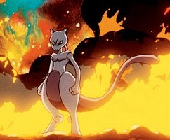 mewtwo standing in front of a fire