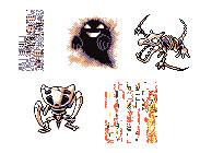 The five forms of Missingno. Two are garbled sprites. One is the ghost of Lavender Tower. And two are fossils - Aerodactyl and Kabutops