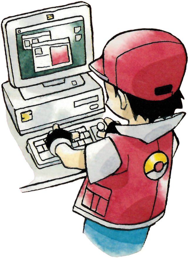 Red using the PC to access Pokémon in storage